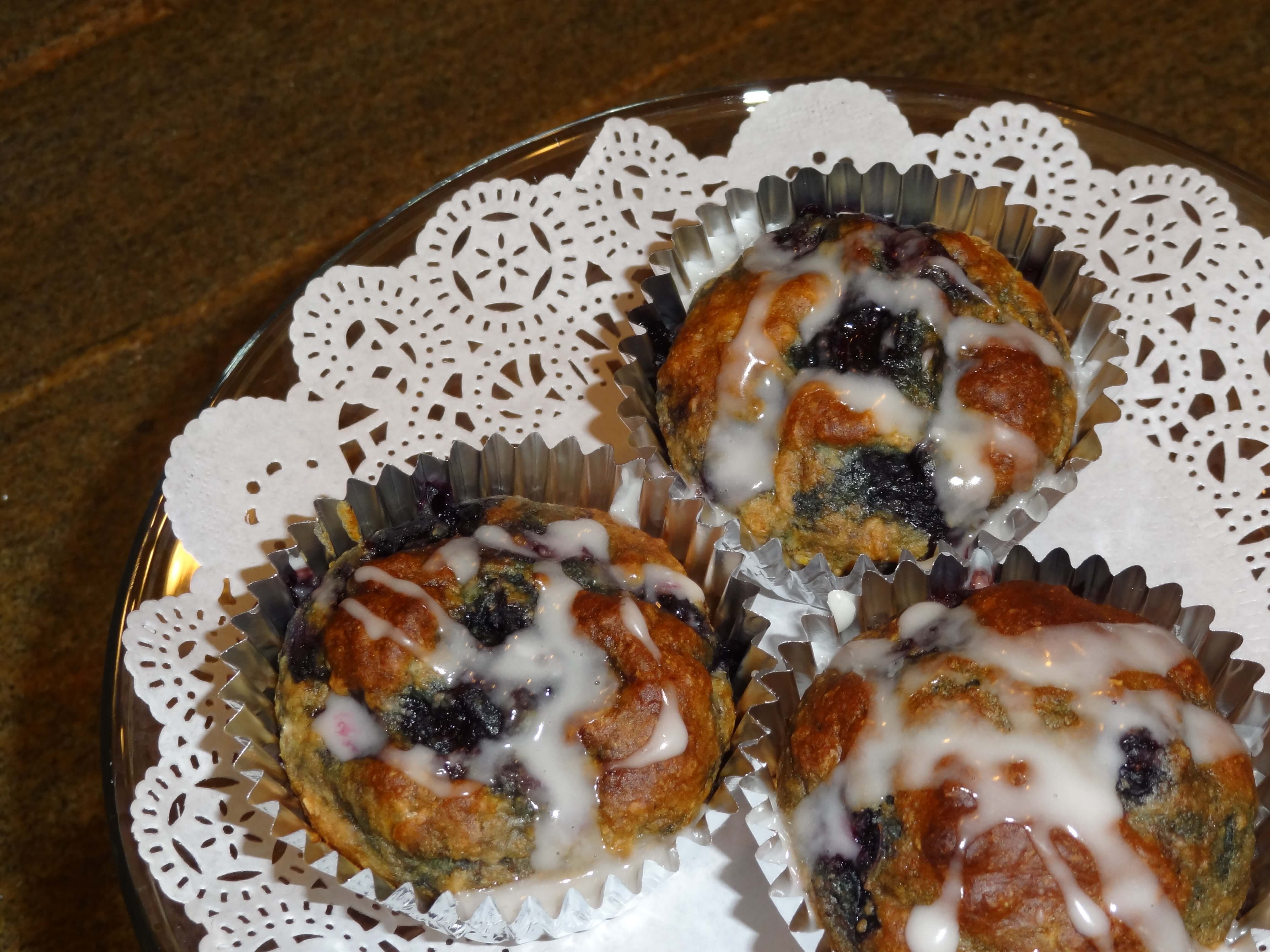 Side view of a muffin on a plate