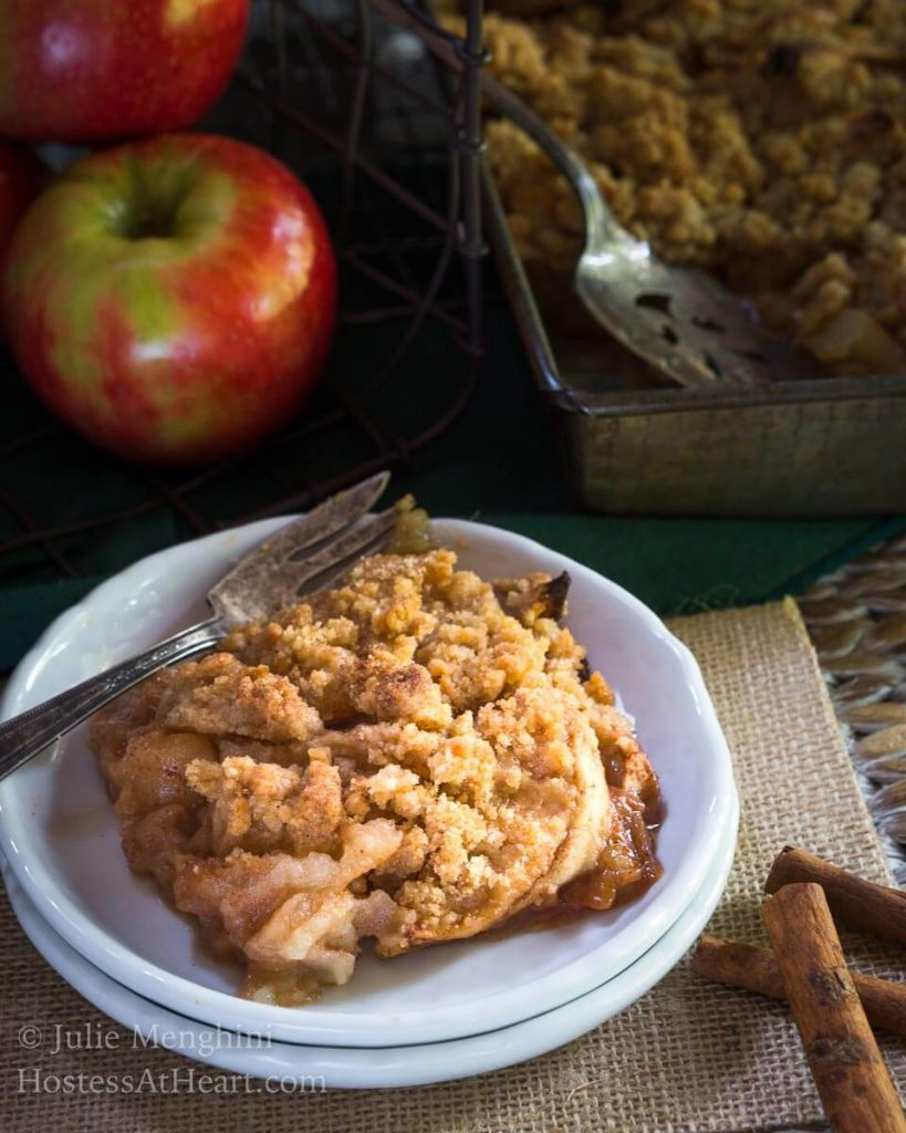 I'll take this Quick and Easy Apple Crisp recipe over cake anytime. It is simple to put together and the perfect treat especially with a dollop of frozen yogurt. | HostessAtHeart.com