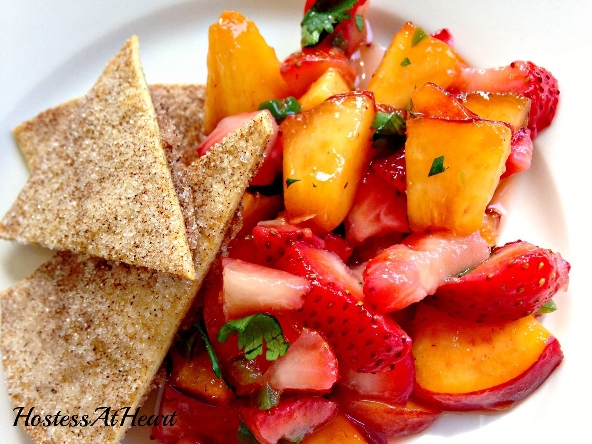 Fruit Salsa with Cinnamon Sugar Tortilla Chips - HostessAtHeart