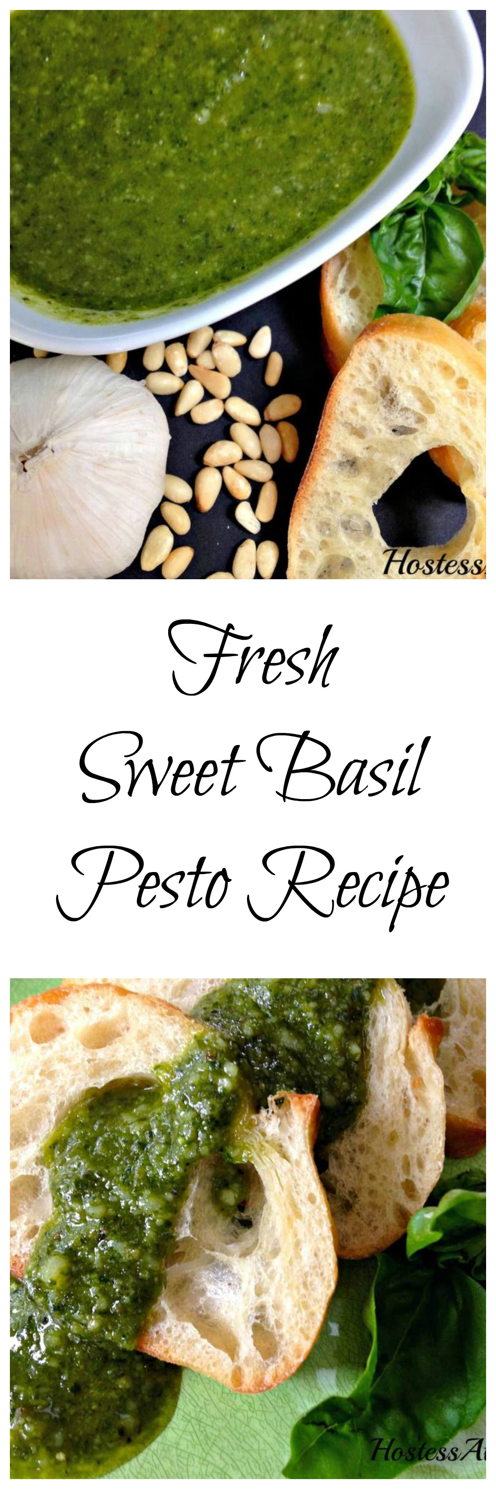 This Sweet Basil Pesto Recipe is absolutely delicious on a baguette, drizzled over grilled meats or combined in pasta dishes. | HostessAtHeart.com