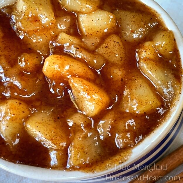 Close top view of pear pie filling