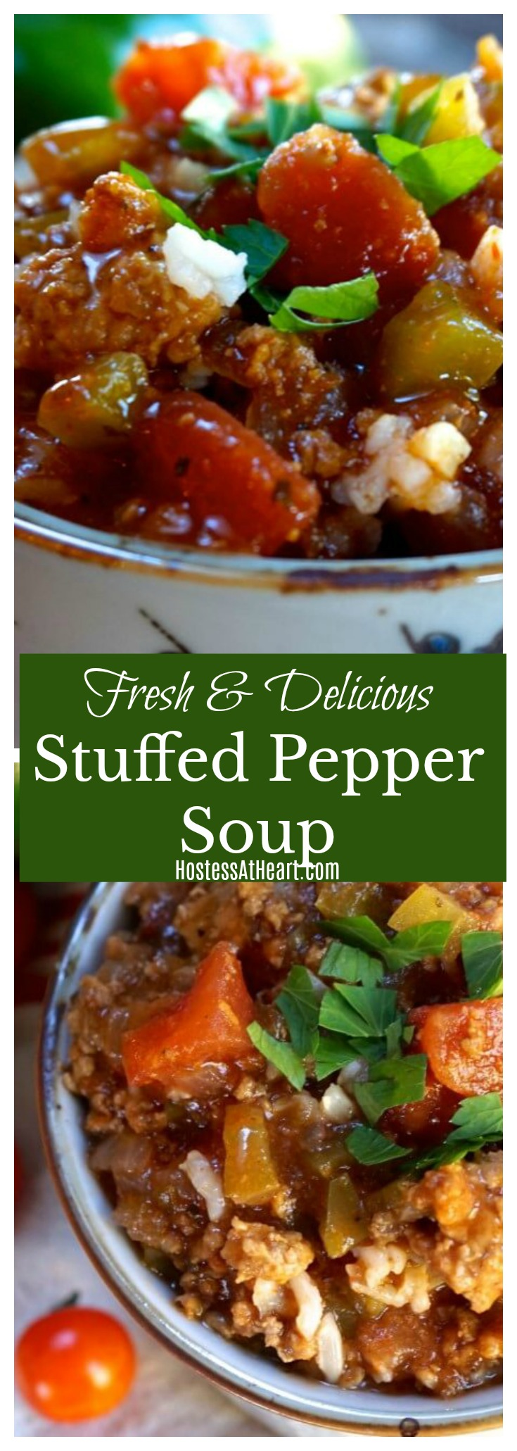 pinterest collage of stuffed pepper soup