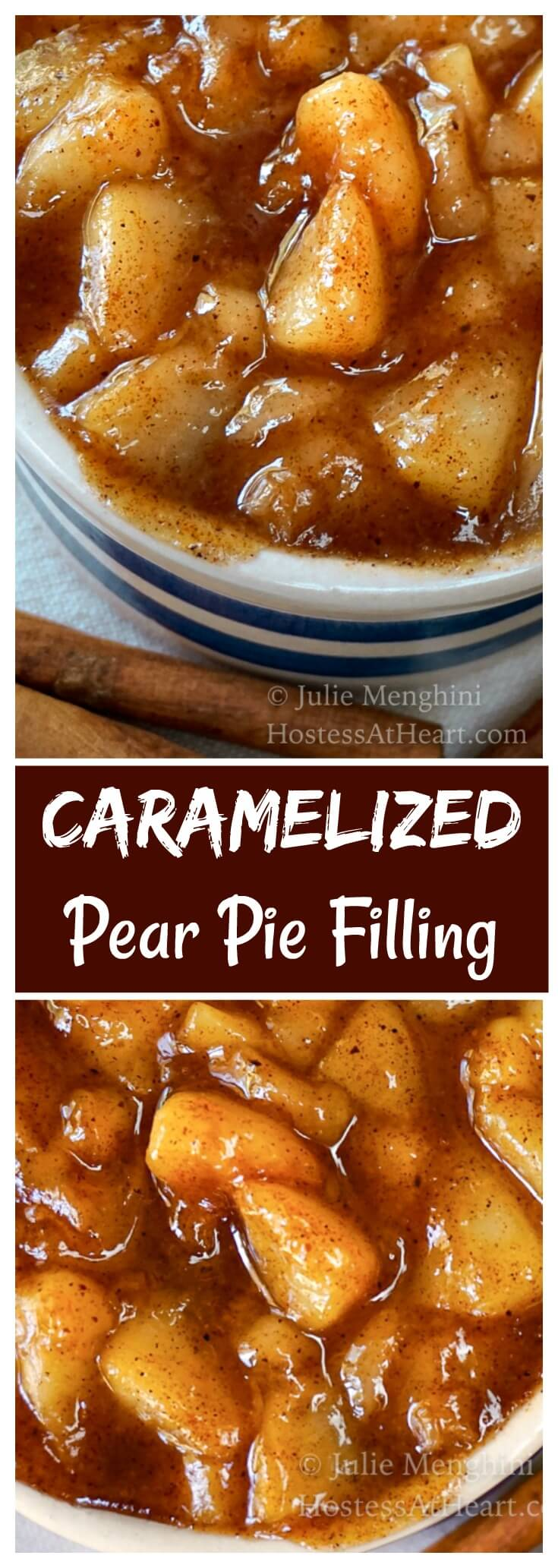 Pinterest collage of pear pie filling