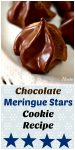 Two views of Chocolate Meringue Stars dipped in chocolate ganache sitting on a white plate