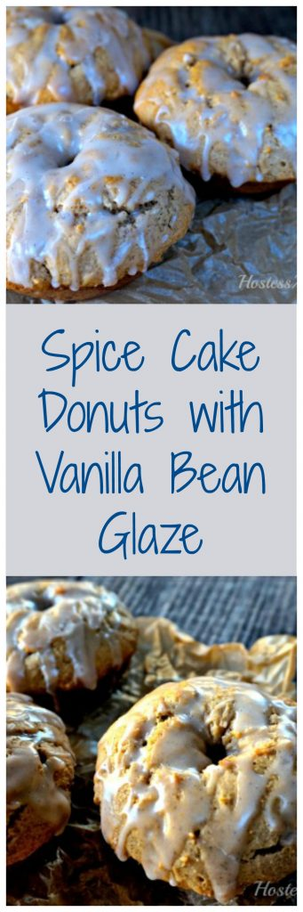 Two views of 3 baked Vanilla Bean Glaze sitting on parchment paper of a wooden background.