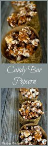This Scrumptious Candy Bar Popcorn makes a delicious snack that is impossible not to eat. It looks fancy but is so simple to make. | HostessAtHeart.com