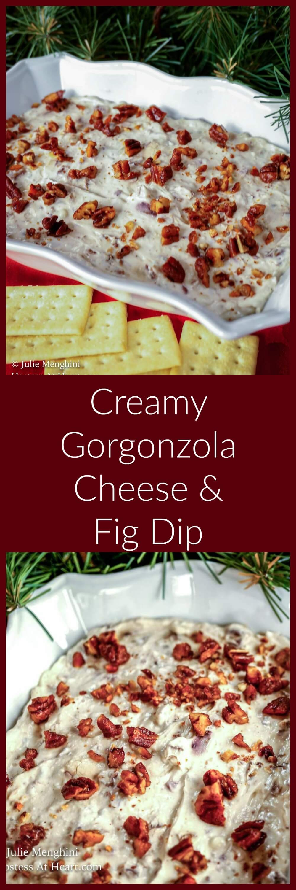 Creamy Gorgonzola Cheese and Fig Dip is smooth, sweet, and a little spicy. It is quick and easy to make and will be a hit at any gathering.