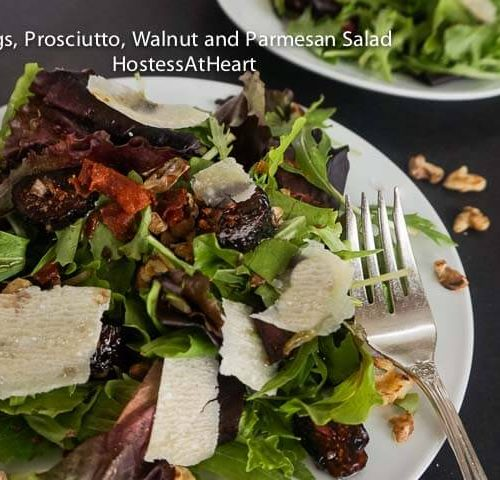 Mixed Green Salad With Figs Prosciutto Walnuts And Parmesan Hostess At Heart