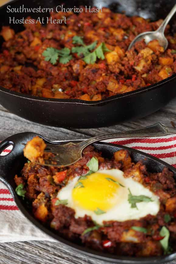 Southwestern Chorizo Hash is a easy and delicious recipe that is perfect for any meal of the day. It's spicy and topped with a beautiful poached egg | HostessAtHeart.com