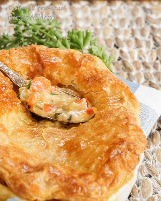 Herbes de Provence Pot Pie is proof that comfort food can be delicious without the extra fat and calories. You wont miss the meat in this vegetarian version either. | HostessAtHeart.com