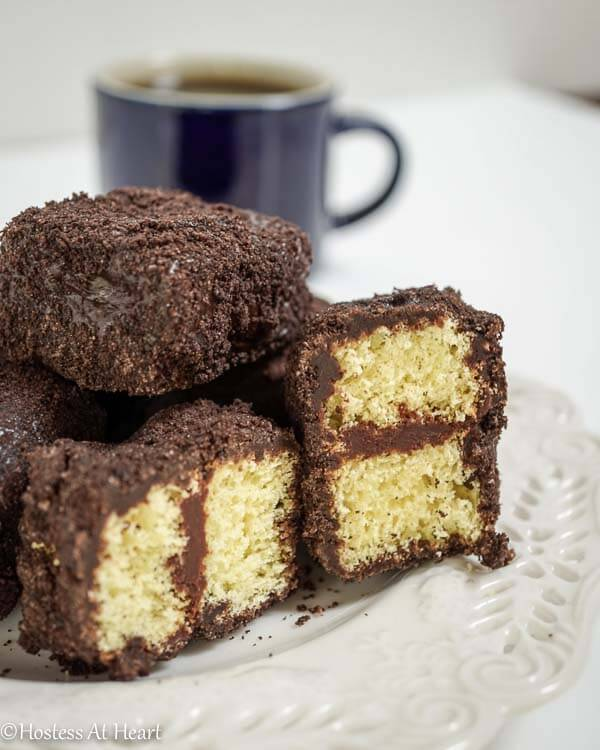 Triple Chocolate Lamingtons delicacy that is as tasty as it is elegant. - HostessAtHeart.com