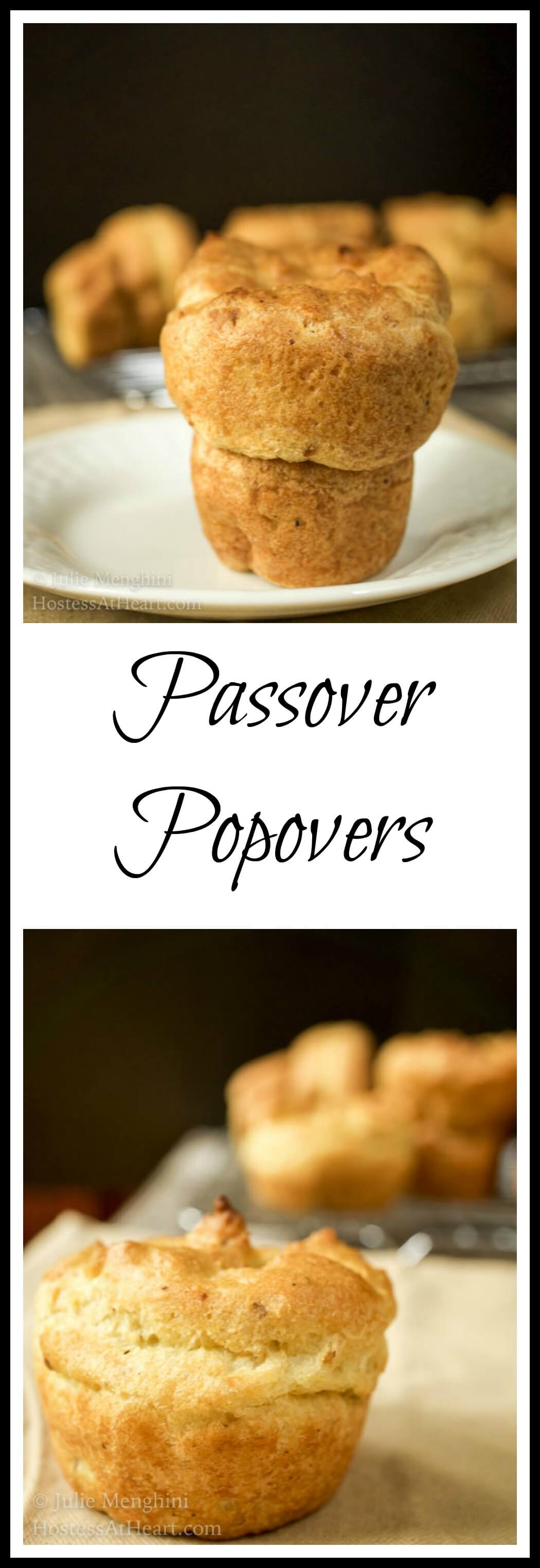 Passover popovers are moist and have a soft crumb. This recipe is versatile and can be made as muffins, and would be a great addition to any meal. #bread, #breadrecipes, #homemadebread #baking