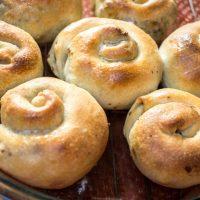 Stuffed meat pies in a swirl shape.