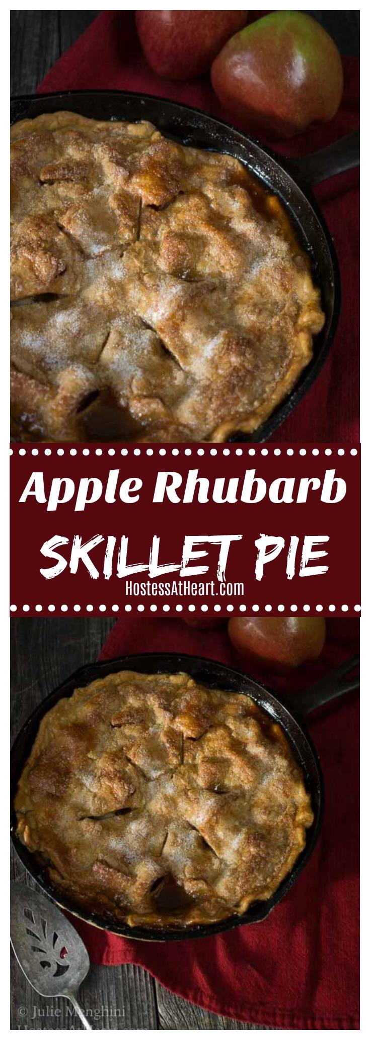 Pinterest collage of apple rhubarb skillet pie