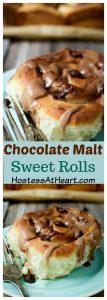 pinterest collage of sweet rolls with chocolate malt glaze