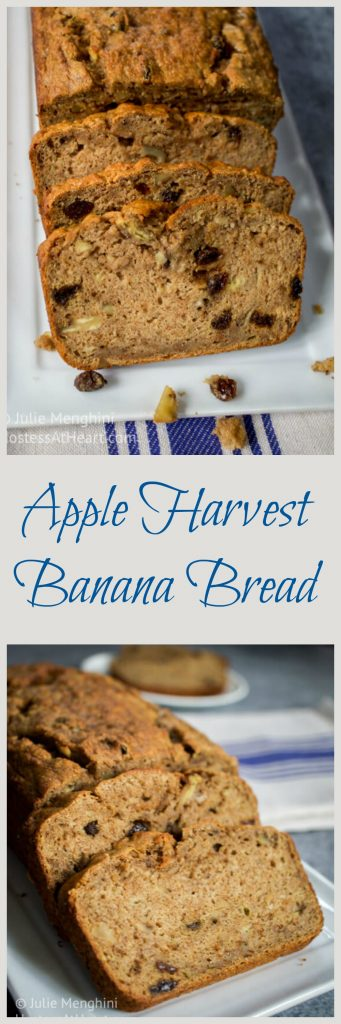 An easy banana bread that adds healthy whole grains and apples. A perfect treat for any time. | HostessAtHeart.com