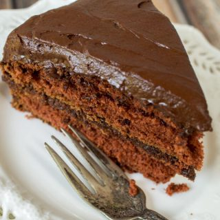 Prize Mahogany Chocolate Cake is a luscious tender chocolate cake that is easy to make and easy to eat. It definitely deserves its place among family favorites. | HostessAtHeart.com