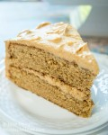Spice Cake with Peanut Butter Frosting may sound like an odd combination but trust me, this cake is absolutely delicious. It's one of my favorite cakes of all time. | HostessAtHeart.com