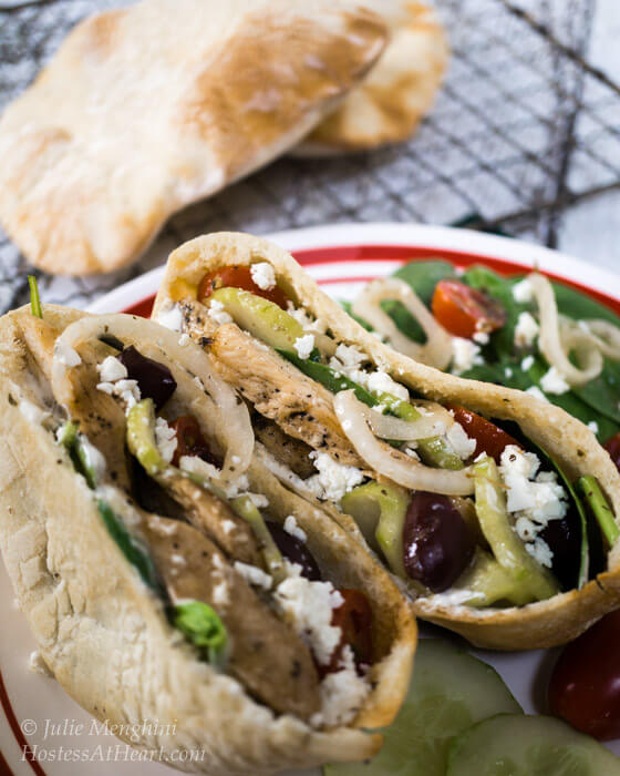 A quick and easy delicious Chicken Gyro recipe. You can either stuff the ingredients into a pita or make a healthy Greek salad. | Hostess At Heart