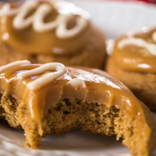 Spiced Coffee Cookies With Caramel Vanilla Glaze are tender and delicious with a soft and gooey caramel. These cookies are like a delicious coffee latte. | HostessAtHeart.com