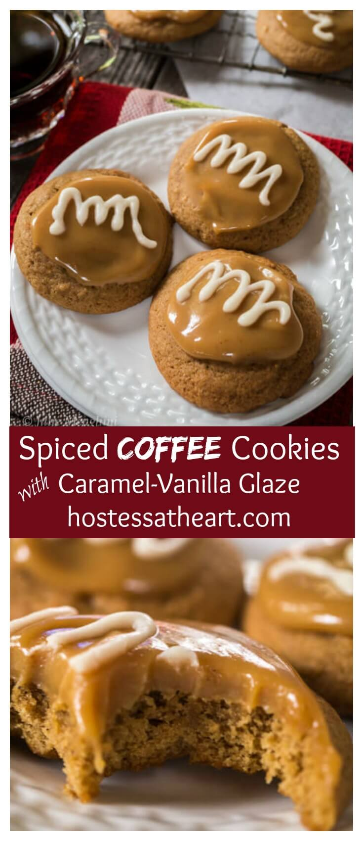 Spiced Coffee Cookies With Caramel Vanilla Glaze - A warm spiced soft cookie topped with gooey caramel and a vanilla glaze swirl. These cookies taste like a delicious coffee latte.   HostessAtHeart.com #cookies, #cookie #baking, #dessertrecipes, #cookierecipe