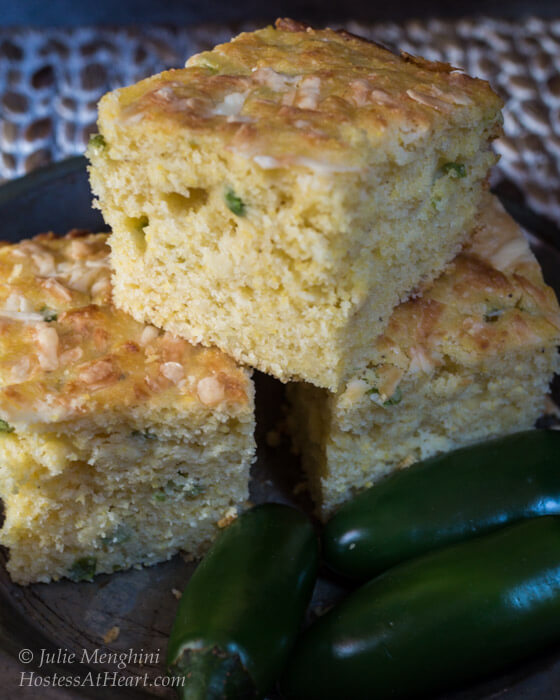 Jalapeno Cheddar Cornbread is an easy to make cornbread recipe that is sweet, spicy and delicious! | HostessAtHeart.com