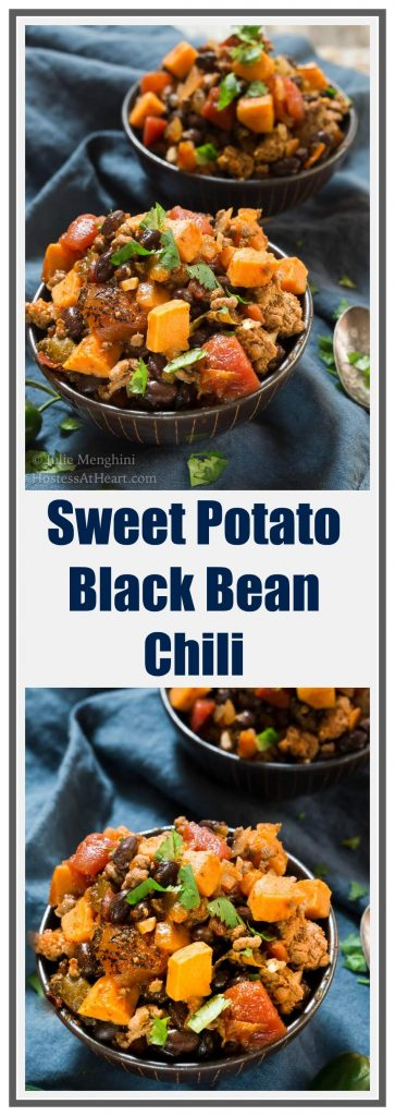 Two bowls of Sweet Potatoe and Black Been Chili sitting on a blue napkin.