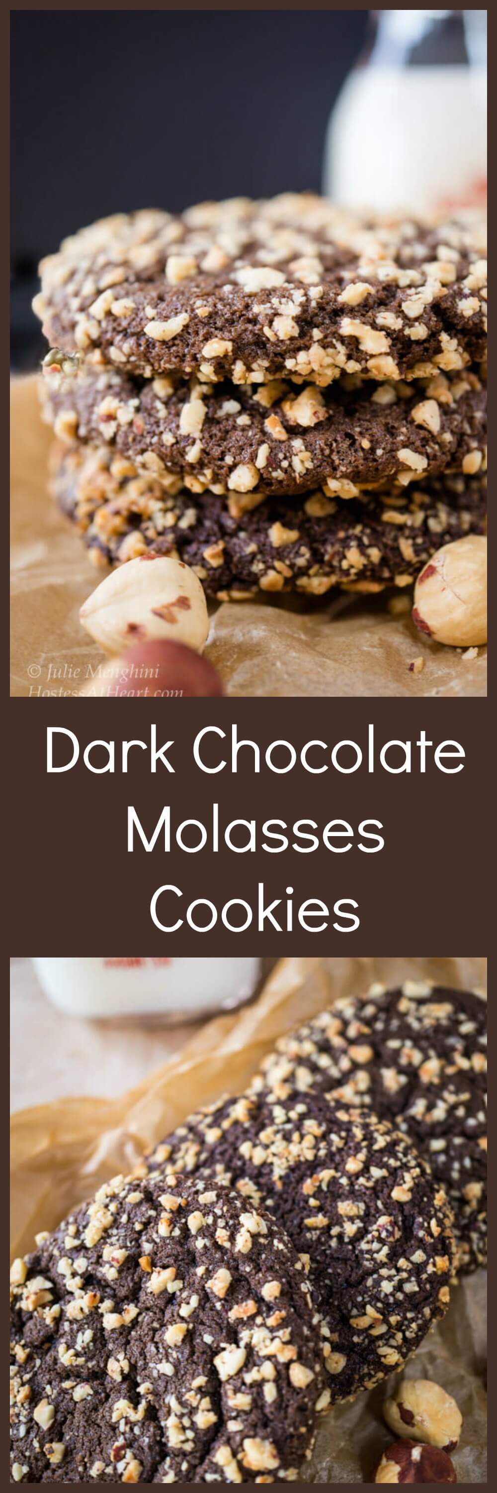 A Dark Chocolate Molasses cookie that's soft on the inside with a delicate crunch on the outside. They're perfect for any occasion! #recipe #cookie #instagood #sweetscookies