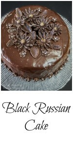Chocolate Vodka and Kahlua Pin collage showing a dark chocolate cake with smooth chocolate frosting and model chocolate daisies