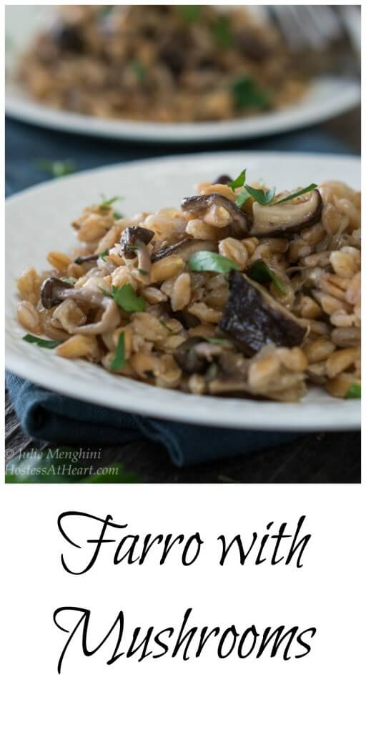Farro with Mushrooms is a delicious and wholesome recipe | HostessAtHeart.com