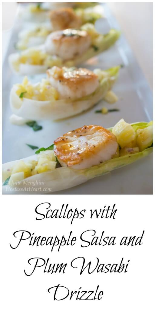 Scallops with Pineapple Salsa and Plum Wasabi Drizzle make an impressive appetizer. No one needs to know how quick and easy it is to make | HostessAtHeart.com