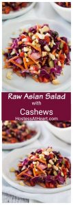 pinterest collage of a raw asian salad with cashews