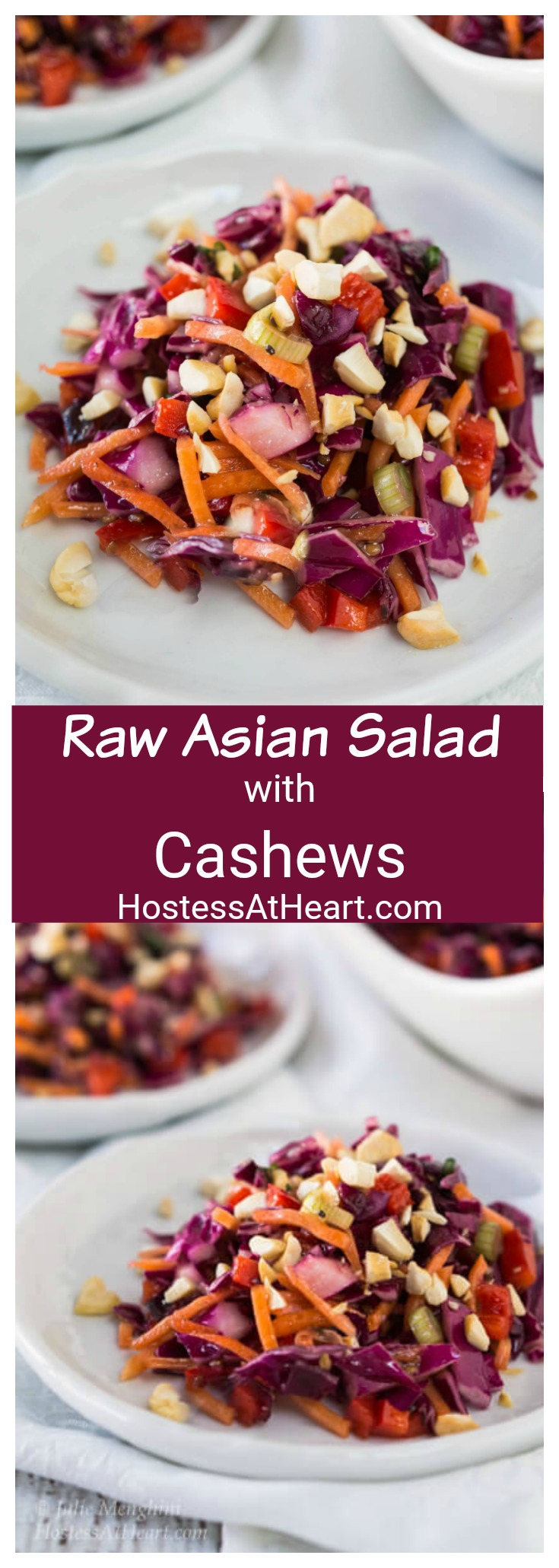 The Asian Cabbage Salad makes for a show stopper dish. Crunchy veggies and cashew nuts are tossed in a ginger sesame vinaigrette for one delicious salad. #easysaladrecipe, #freshsaladrecipe #cabbage