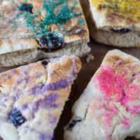 Slices of scones decorated with colored sugar.