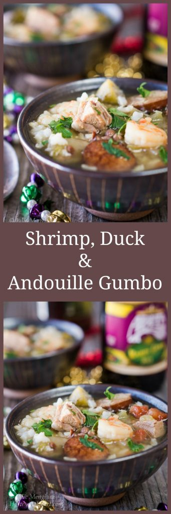 Shrimp, Duck, and Andouille Gumbo is definitely a great way to celebrate Mardi Gras | HostessAtHeart.com