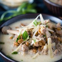 A bowl of ground turkey, mushrooms, and spelt, and garnished with parmesan cheese.