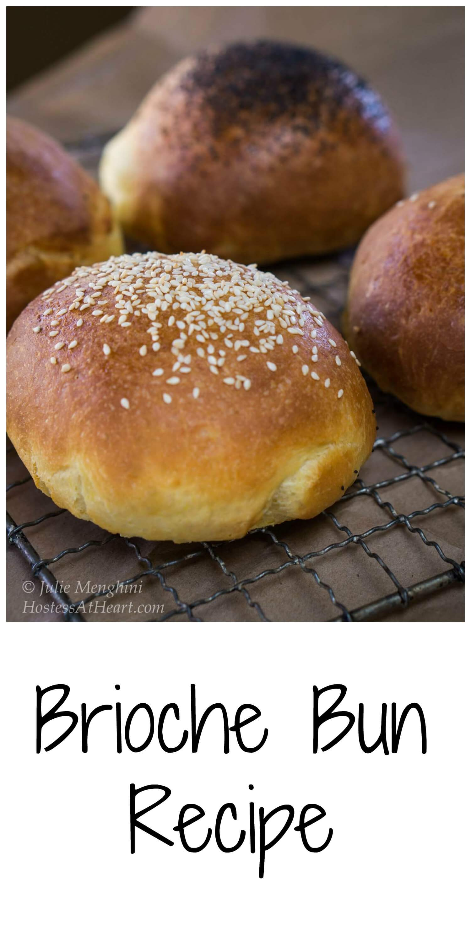 A Brioche Bun recipe that makes a soft and buttery bun that is strong enough to stand up to the heartiest of sandwiches or burgers.