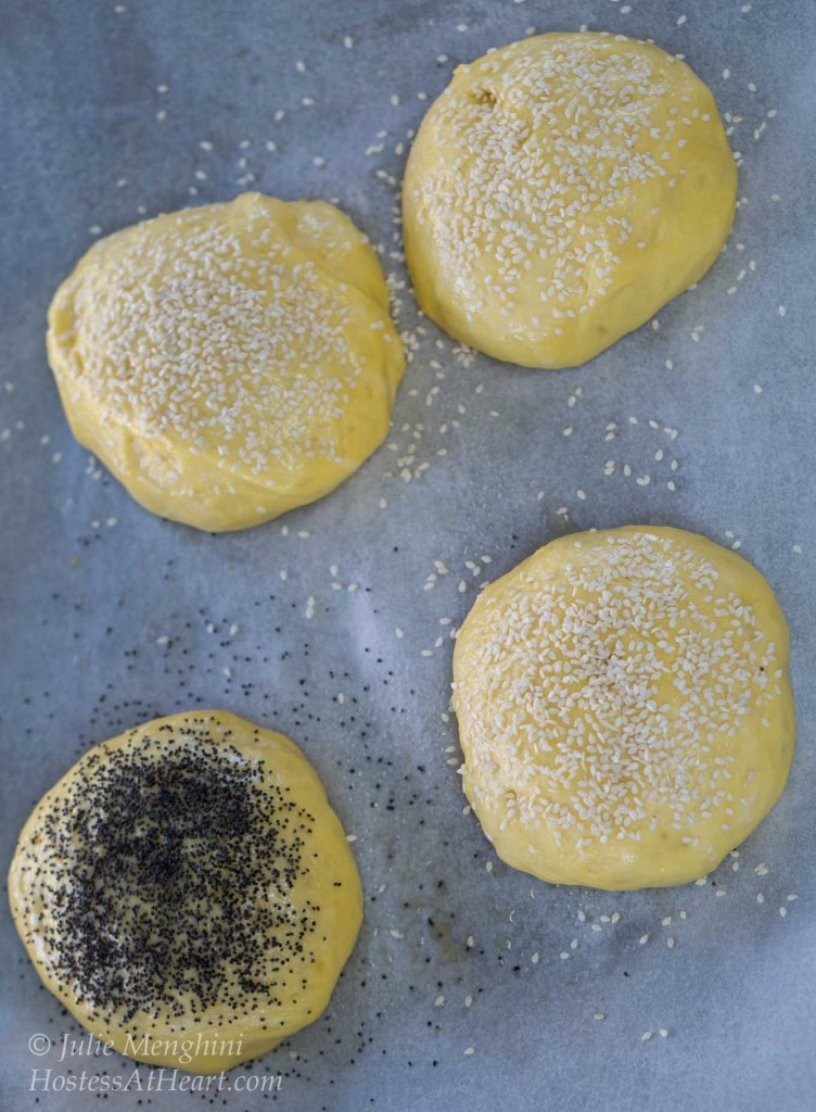 These Brioche buns are soft and pillowy yet strong enough to handle the biggest of sandwiches or burgers. They can be topped with anything you like or left plain. Their buttery flavor is anything but plain | HostessAtHeart.com