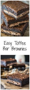 Thick and gooey dark Chocolate Toffee Bar brownies with a layer of chocolate toffee candy bar running through the center. Nothing is missing in this quick and easy dessert | HostessAtHeart.com