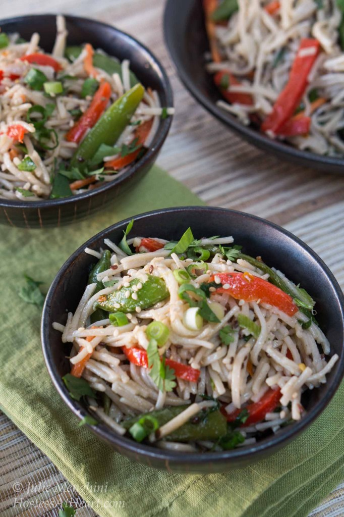 This Soba Noodle Salad is a great recipe to take to a potluck or for lunch at work. Add chicken or shrimp and you have a quick and delicious dinner. HostessAtHeart.com