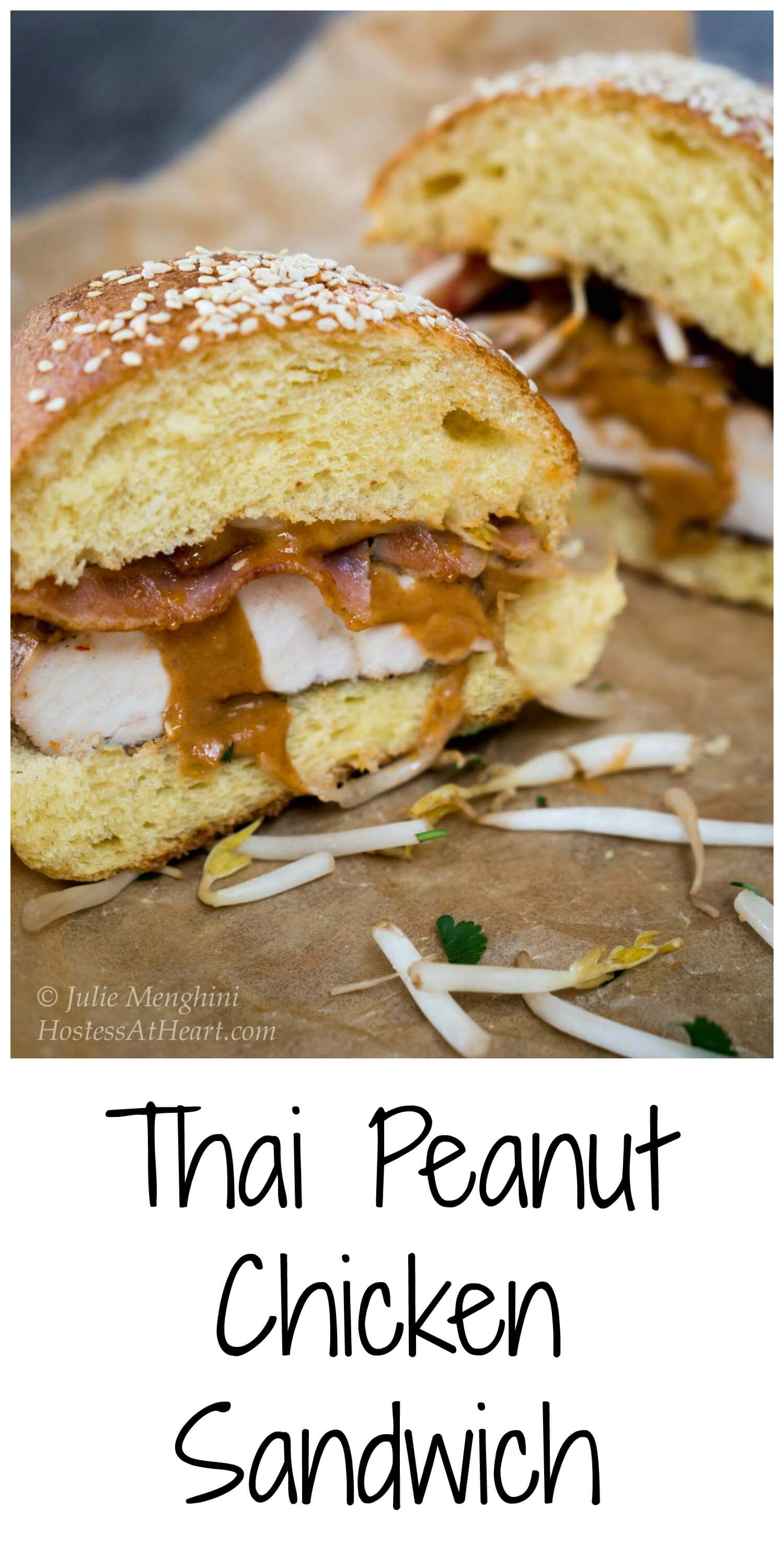 This Thai Peanut Chicken Sandwich recipe is sweet, savory, spicy, creamy and crunchy.  But best of all, it's delicious! #Chickendinner, #easyrecipes. #chickenrecipes, #Chicken