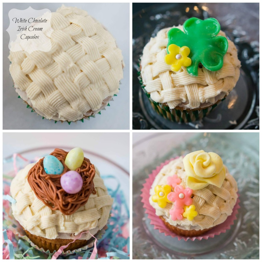 4 grid photo showing 4 different ways to decorate basketweave cupcakes including 1. Basketweave 2. Shamrock with a flour 3. Nest and candy eggs, 4. Spring flowers.