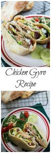 A quick and easy delicious Chicken Gyro recipe. You can either stuff the ingredients into a pita or make a healthy Greek salad | HostessAtHeart.com