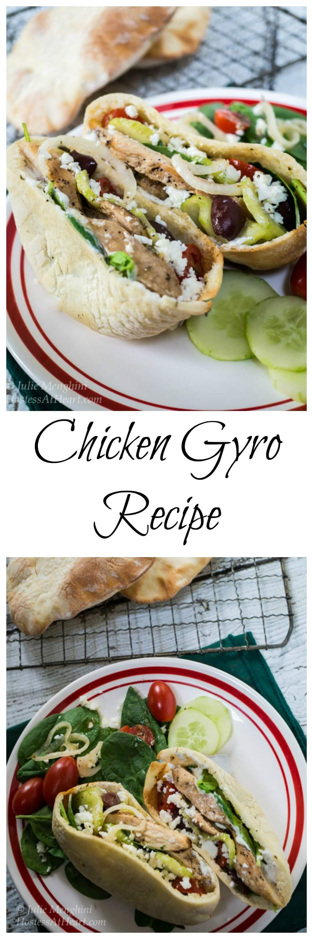 A quick and easy delicious Chicken Gyro recipe. You can either stuff the ingredients into a pita or make a healthy Greek salad. Gyros make a great lunch or dinner! #Chickendinner, #easyrecipes. #chickenrecipes, #Chicken #Healthy