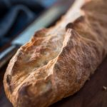 long view of a loaf of garlic batard bread