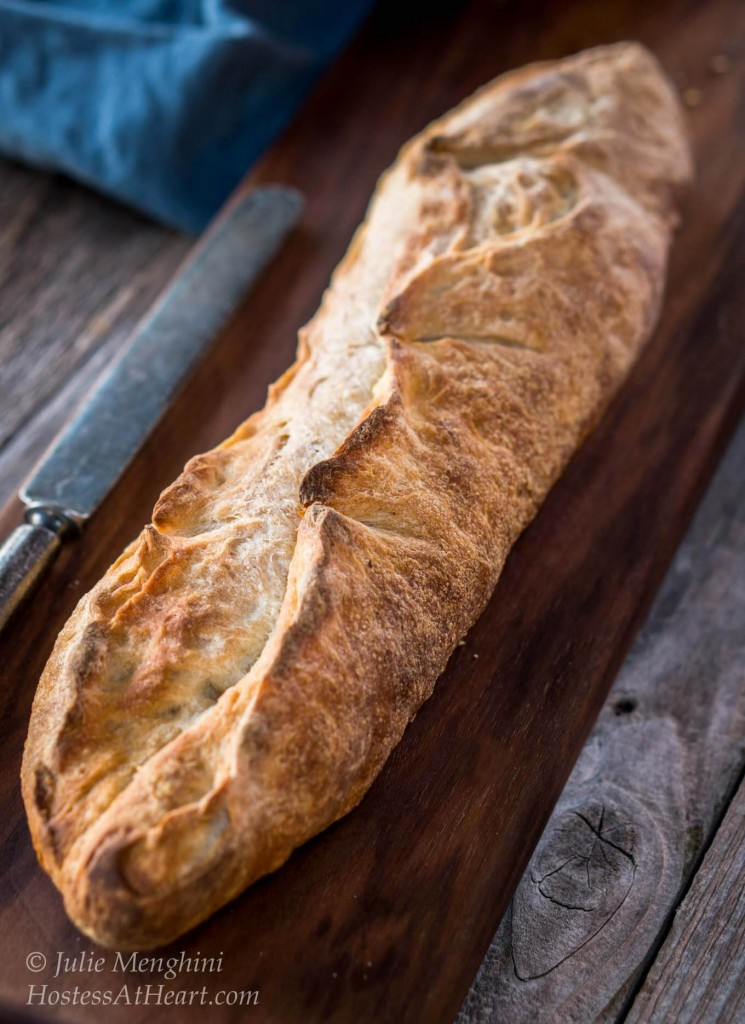 An artisanal bread that looks bakery made but done in your kitchen. The crust is crunchy crust and a tender flavor. The garlic flavor is present without taking over | HostessAtHeart.com