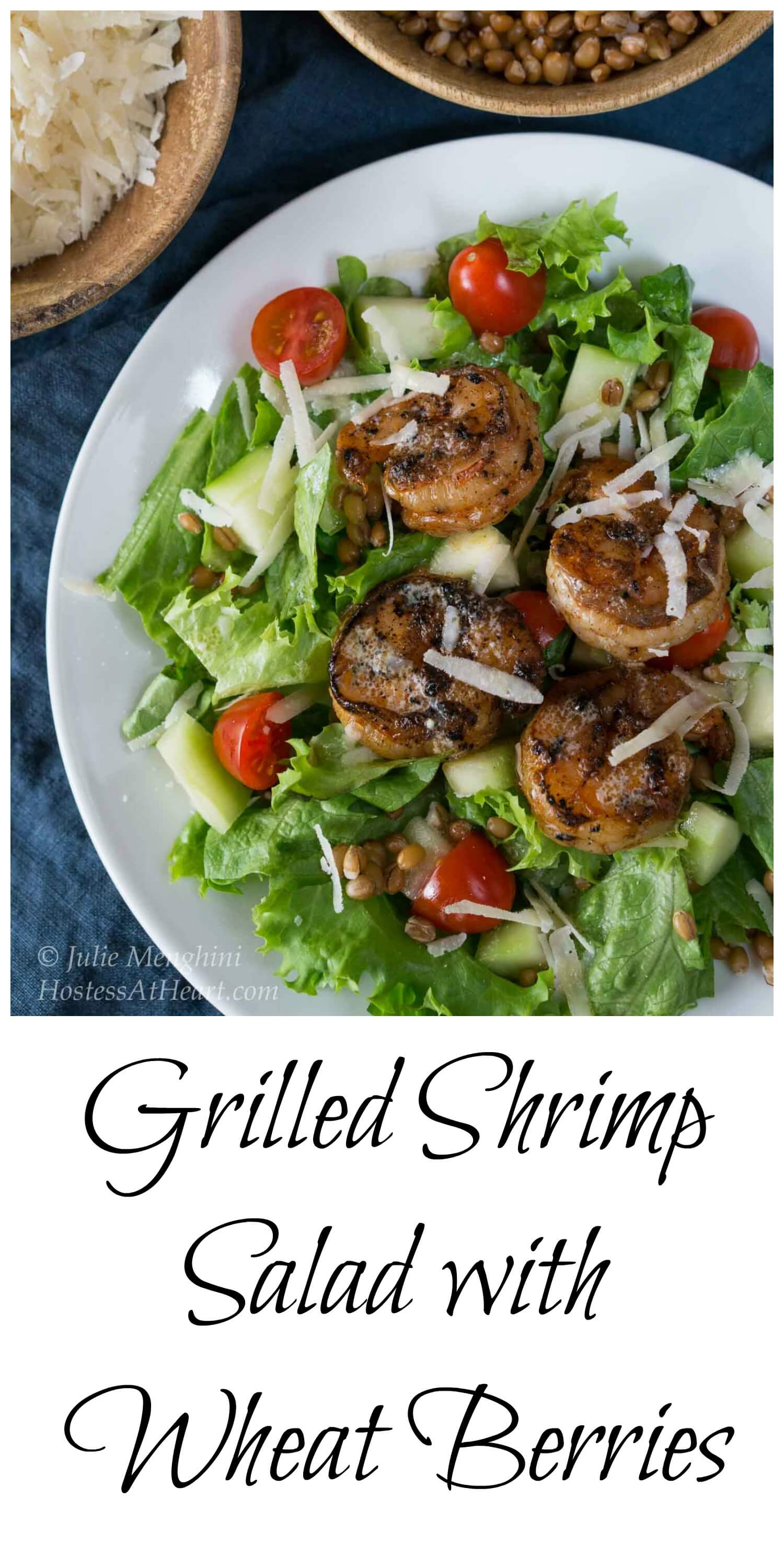 Grilled Shrimp Salad with Wheat Berries will not leave you hungry. It's filling, good for you and delicious. #healthyfood #whatsfordinner #Shrimp #shrimpsalad | Healthy Salad | Salad with shrimp | healthy salad