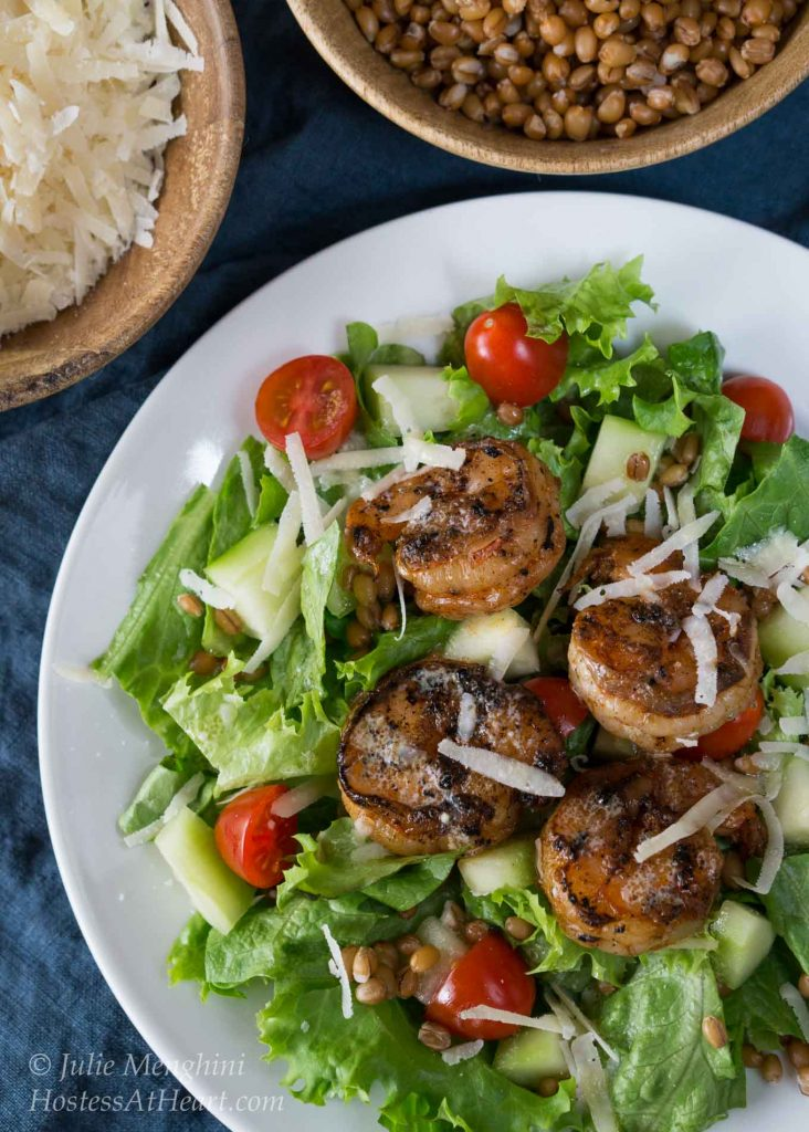 Grilled Shrimp Salad with Wheat Berries