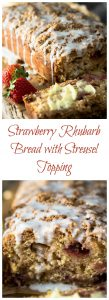 Strawberry Rhubarb Bread with Streusel Topping could easily pass for cake. It is sweet, tart and crunchy all at the same time. It's perfect for anytime from breakfast to dessert | HostessAtHeart.com