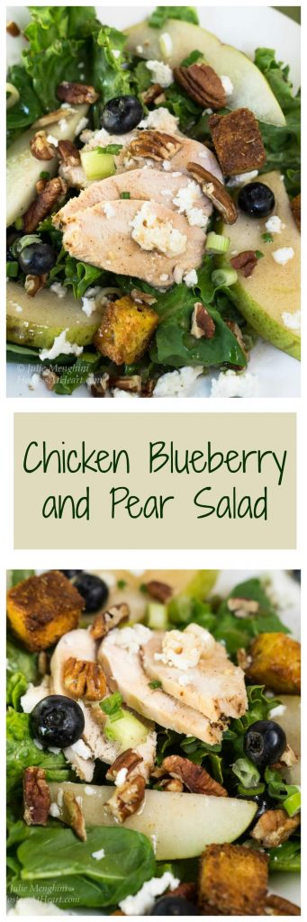 "Two photo collage for Pinterest showing two views of a Green lettuce salad topped with sliced chicken, fresh pears, candied pecans, green onions, blueberries, and blue cheese crumbles. A banner with the title ""Chicken Blueberry and Pear Salad runs through the center."